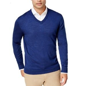 Club Room Sweaters - Club Room Mens Merino-Wool V-Neck Pullover Sweater